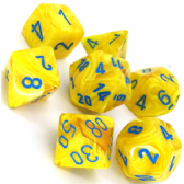 Yellow & Blue Vortex Polyhedral 7 Dice Set